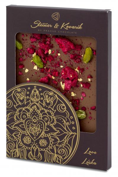 Mandala Liebe Hochwertige in Handarbeit hergestellte Milchschokolade mit kandierten Rosenblättern, Himbeeren und Pistazien, verziert mit 23 Kt. Gold. Nettogewicht: 70g