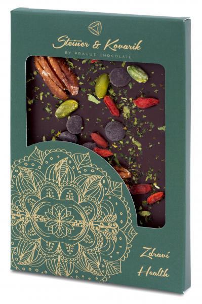 Steiner&Kovarik Mandala Gesundheit - Hochwertige in Handarbeit hergestellte Zartbitterschokolade mit Pekannüssen und Walnüssen, Goji-Beeren, Pistazien und Moringa. Nettogewicht: 70g