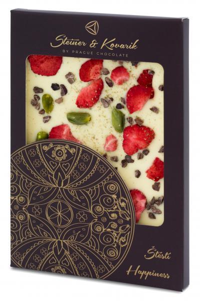 Mandala Glück - Hochwertige in Handarbeit hergestellte weiße Schokolade mit Lavendelblüten, Erdbeeren, Pistazien und Kakaobohnen. Nettogewicht: 70g