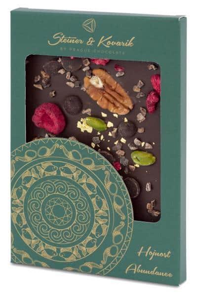 Mandala Reichtum - Hochwertige in Handarbeit hergestellte Zartbitterschokolade mit Himbeeren, Pistazien und Kakaobohnen, verziert mit 23 Kt. Gold.