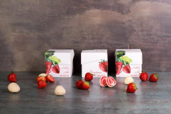 Erdbeeren  gefriergetrocknet in weißer Schokolade (110g)