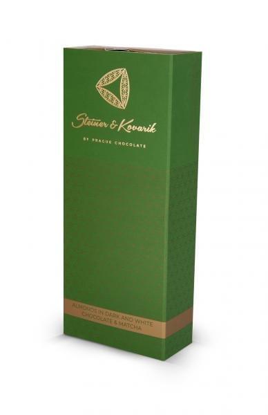 Mandeln in zartbitterschokolade -und weißer Schokolade mit Matcha. Es ist uns eine Ehre unseren Kunden geröstete Mandeln in Bitter oder weißer Schokolade in Verbindung mit 100% Japanischem Matcha anbieten zu können. Matcha verleiht dieser Delikatesse nicht nur eine unübersehbare grüne Farbe, aber auch den für Matcha charakteristischen Geschmack. Das Ergebnis ist eine göttliche Kombination exotischer Noten die stresslösend und energieliefernd sind.