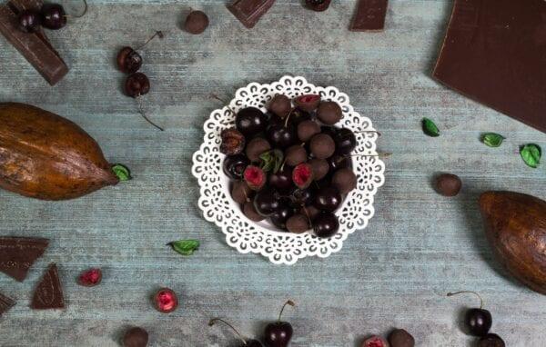 steiner&kovarik gefriergetrocknet sauerkirchen früchte zartbitterschokolade praline delikatesse umhüllt von feinstem Kakao mit natürlichem Vanillearoma saftigen Kirschen luxuriöse Geschenkboxen